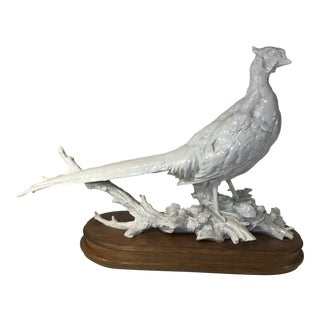 1970s Blanc De Chine German Made Vintage Porcelain Pheasant on Wooden Base For Sale