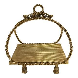 Hollywood Regency Gold Tissue / Towel Holder For Sale