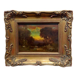 William Keith -Cows at a Watering Hole in a Barbizon Landscape -19th Century Oil Painting For Sale