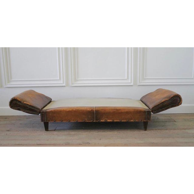 Antique Drop Arm Sofa: Sale Antique French Leather Drop Arm Daybed Sofa With