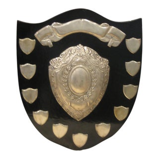 Vintage Family Shield With Blank Silver Plates For Sale