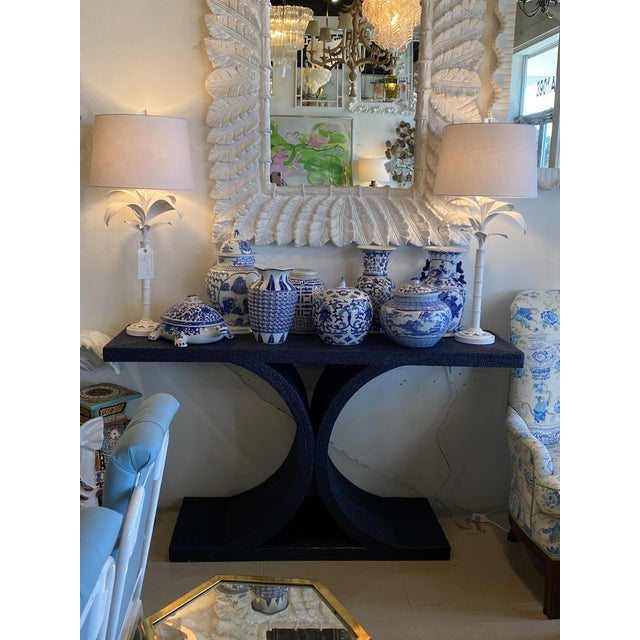Amazing vintage navy blue newly lacquered rope console table. I just adore the fabulous shape on this table! In the manner...