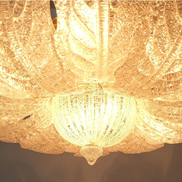 Great Barovier Toso Flush Mount or Chandelier Glass Brass, Italy Mid Century For Sale - Image 12 of 13
