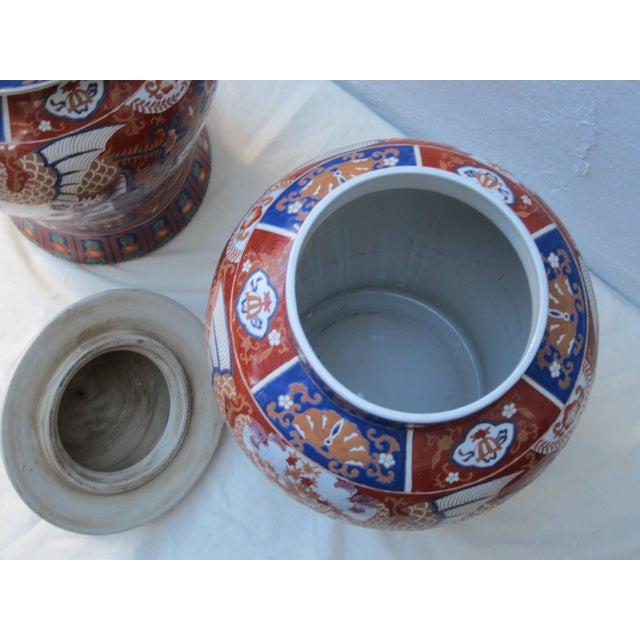 Asian Pair of Imari Jars For Sale - Image 3 of 5
