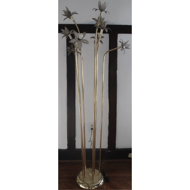 Brass Vintage Mid-Century Modern Lotus Floor Lamp For Sale - Image 7 of 10