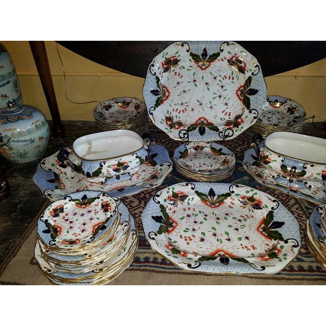 Davenport Large Early 19c Davenport Longport Imari China Dinner Service For Sale - Image 4 of 13