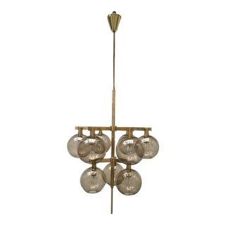 Impressive Hans-agne Jakobsson Brass and Glass Globe Chandelier, Sweden, 1960s
