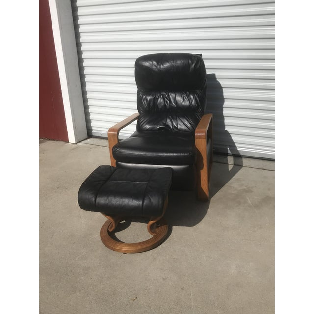 1950s Original Borge Mogensen Black Leather Lounge Chair With Ottoman For Sale - Image 10 of 10