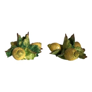Italian Majolica Porcelain Lemon Candle Holders - a Pair For Sale