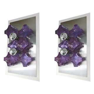 Pair of Sconces Pressed Glass by Biancardi and Jordan Arte, Italy, 1970 For Sale