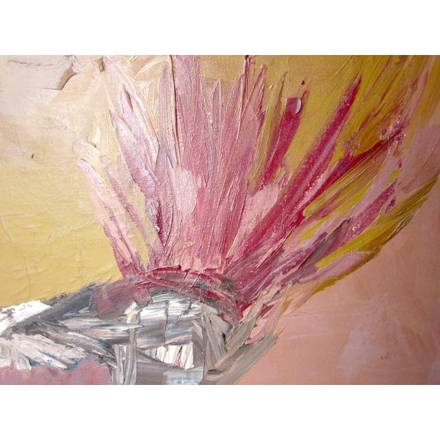 1970s Vintage Suzanne Peters Abstract Untitled Bird Painting For Sale - Image 9 of 12