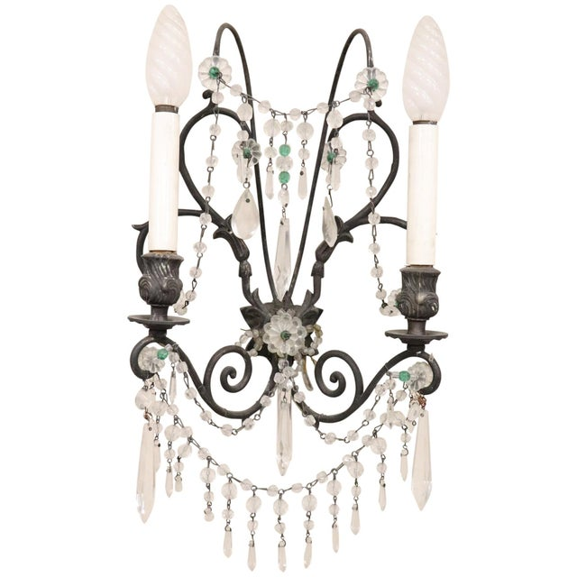 Bronze 20th Century Italian Bronze and Colored Crystals Swarovski Wall Light or Sconces For Sale - Image 7 of 7