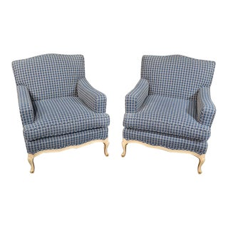 Pair of French Louis XV Style Bergere Club Lounge Chairs For Sale