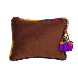 Brown / Vintage Gypsum Velvet Throw Pillow For Sale