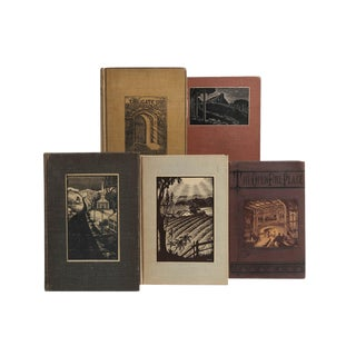Vintage Woodcut Covers Book Set, S/5 For Sale