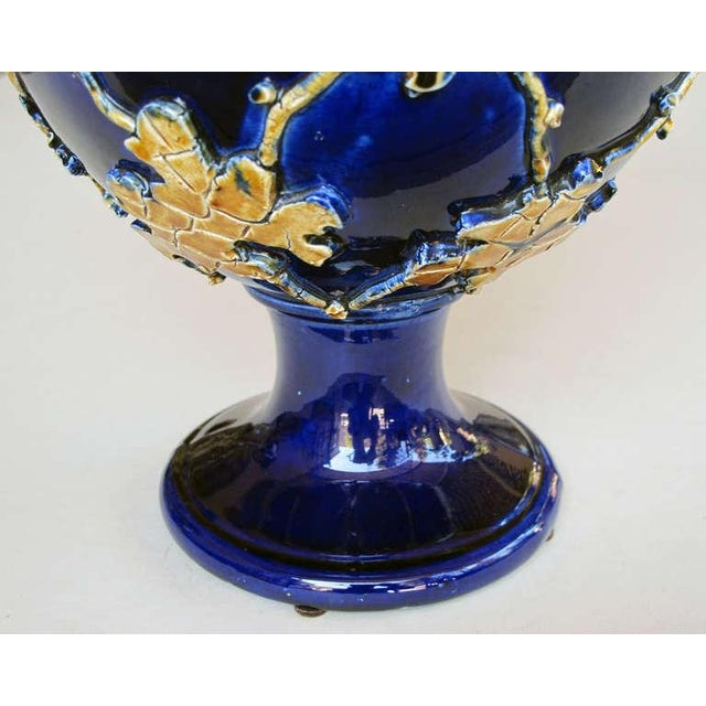 A Pair of Italian Cobalt Glazed Majolica Ewers with Raised Decoration For Sale In San Francisco - Image 6 of 7