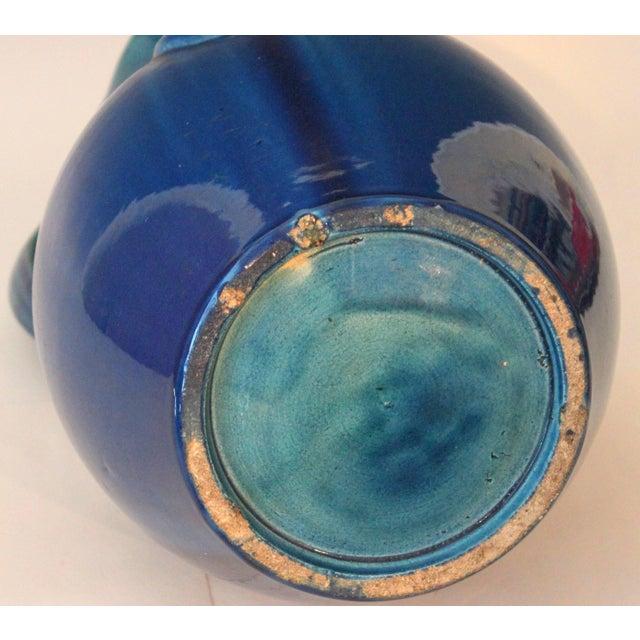 Ceramic Large Kyoto Pottery Antique Art Nouveau S Handled Blue Monochrome Vase For Sale - Image 7 of 10