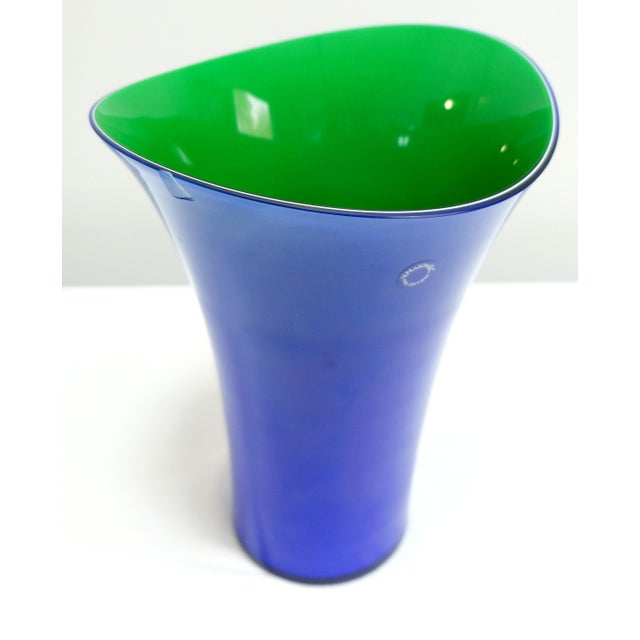 Murano Glass Vase Set by v. Nason & C. Italy, Blue and Green Asymmetric Vases For Sale - Image 4 of 7