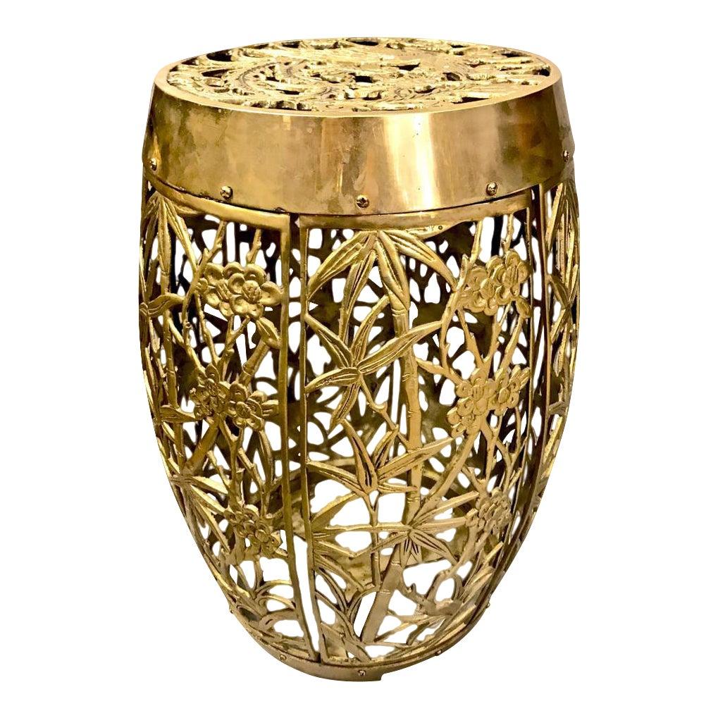 Exquisite Pair Cast Brass Mastercraft Attributed Garden Stools C ...