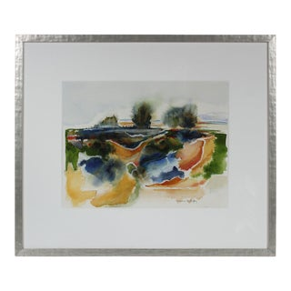 """Sonoma Beach, Ca"" 20th Century Watercolor Abstract Landscape For Sale"