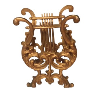 1970s Hollywood Regency Gold Cast Iron Lyre Magazine Rack