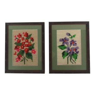 Framed Pink/Purple Floral Needlepoints - A Pair