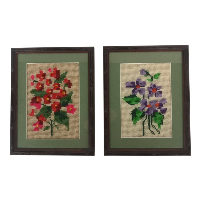 Framed Pink/Purple Floral Needlepoints - A Pair For Sale