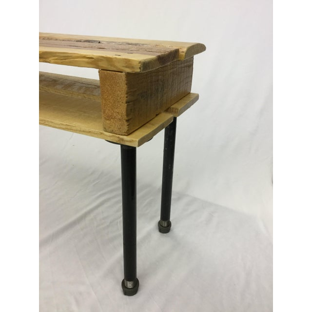 Pallet Wood Hand Finished Narrow Hallway Bench For Sale - Image 9 of 12
