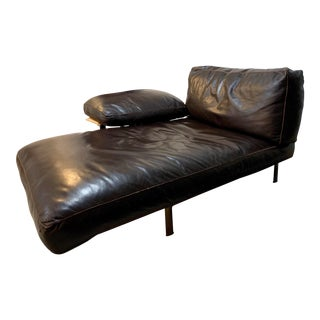 1970s Vintage Antonio Citterio and Paolo Nava for B & B Italia Diesis Leather Chaise Lounge For Sale