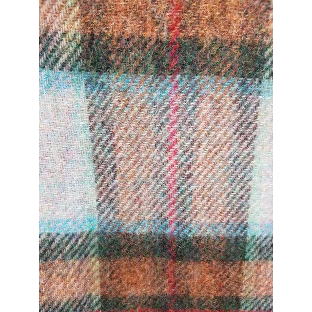 Wool Throw Red Blue Orange Plaid - Made in England For Sale - Image 9 of 12