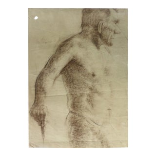 Vintage Drawing of a Male Nude Artist Study For Sale