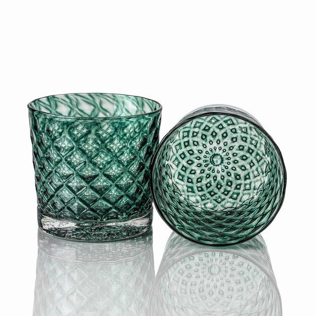 Blue Mindala Short Glasses, Blues and Green - Set of 6 For Sale - Image 8 of 12