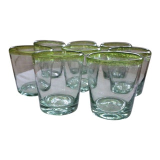 Sea Glass Green Murano Hand Blown Glassware - Set of 8 For Sale
