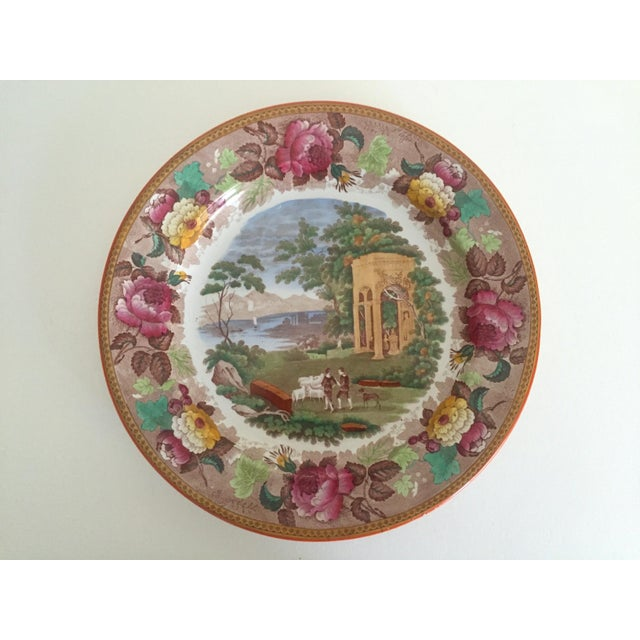 Baroque Antique Wedgwood Transferware Neoclassical Floral Ceramic Plate For Sale - Image 3 of 11