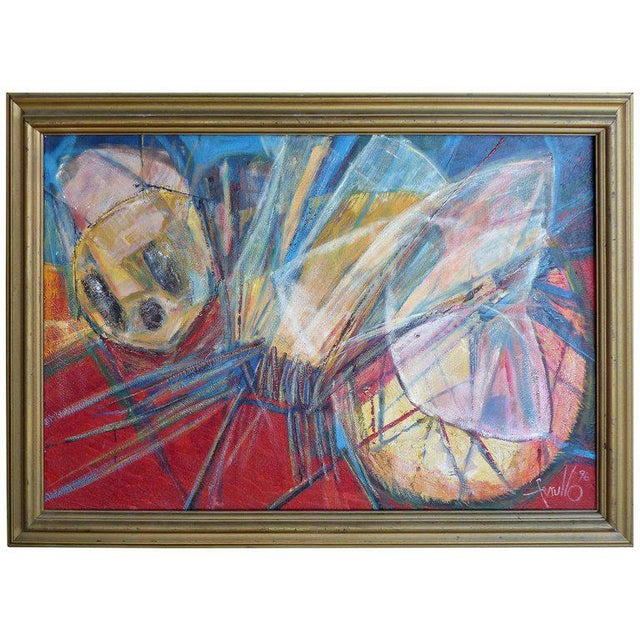 "1990s Edith Ferul ""The Bumble Bee"" Abstract Oil on Canvas Painting For Sale - Image 10 of 10"