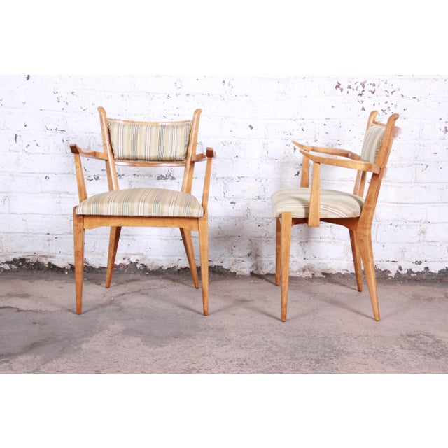 Edmond J. Spence Edmond Spence Swedish Modern Sculpted Tiger Maple Armchairs - a Pair For Sale - Image 4 of 13