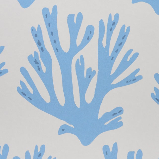 Contemporary Sample - Schumacher x Molly Mahon Coral Wallpaper in Blue For Sale - Image 3 of 4