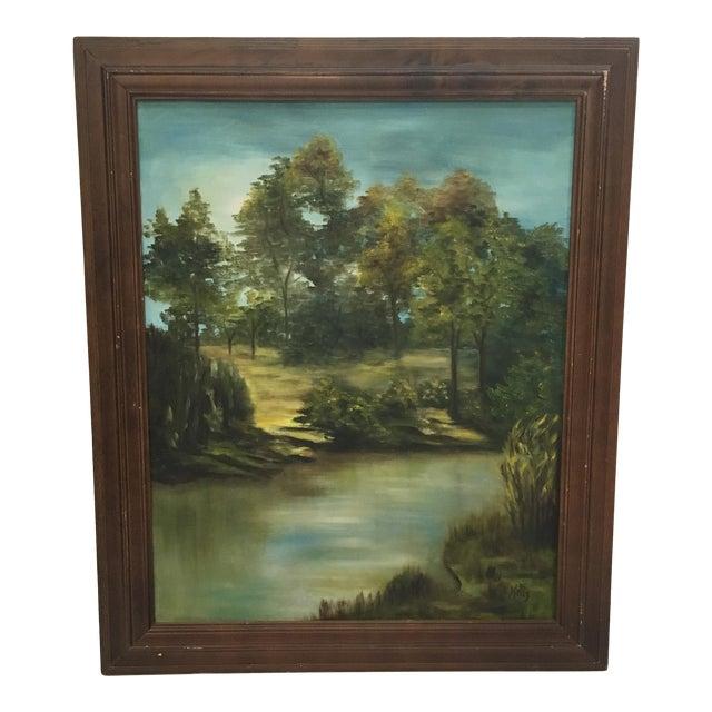 Wooden Framed Landscape Oil Painting - Image 1 of 7