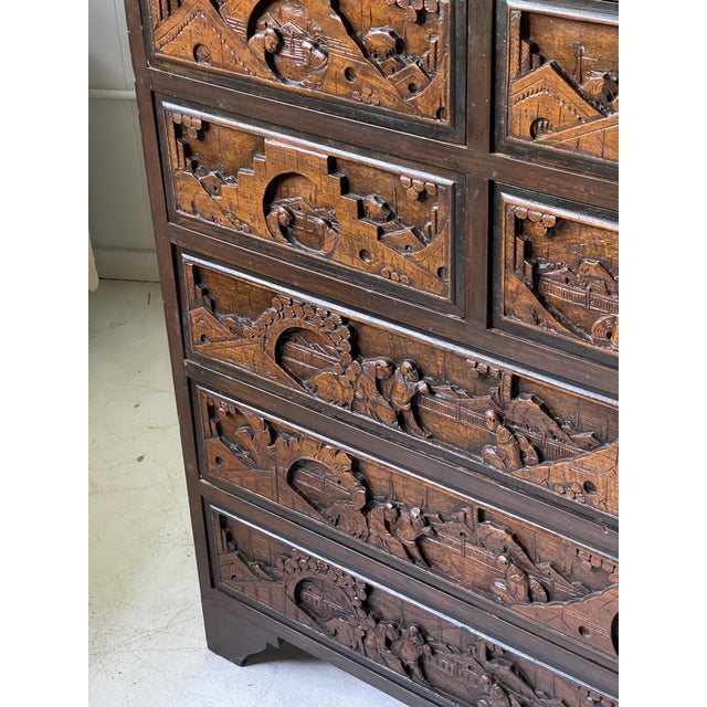 Wood Chinoiserie Carved Camphor Wood Batchelor's Chest For Sale - Image 7 of 13