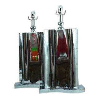 1990s Modern Chrome Tower Lamps - a Pair For Sale