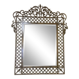 1970's Vintage Country Cottage Wrought Lattice Console Wall Mirror For Sale