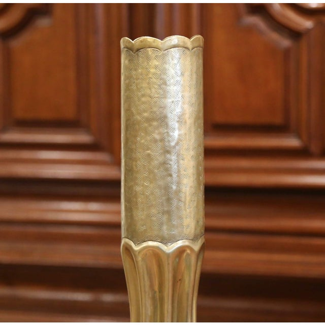Metal World War I French Trench Artillery Brass Shell Casing Vase With Foliage Motifs For Sale - Image 7 of 12