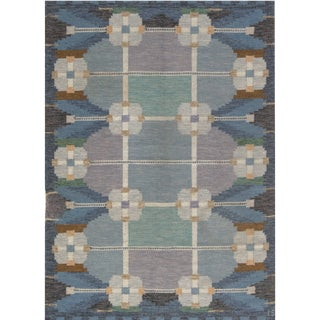 Vintage Swedish Flat Weave Rug Signed by Ingegerd Silow - 7'8'' X 5'9'' For Sale