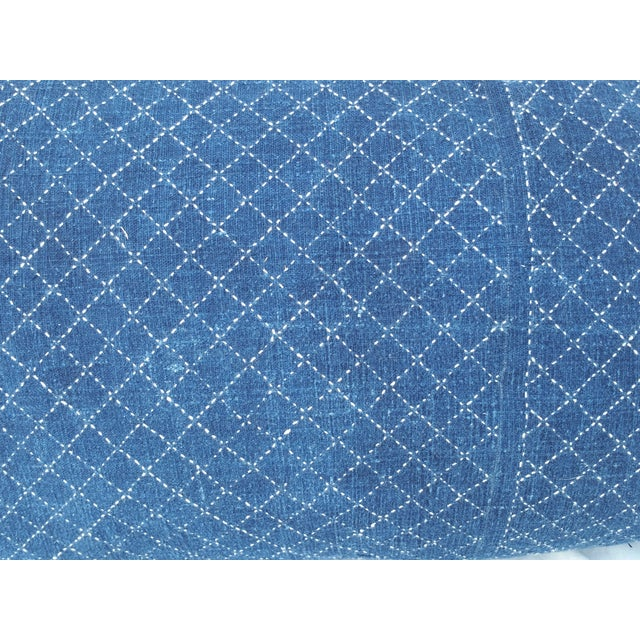 Boho Chic Indigo Overstitched indigoBaby Carrier Pillow For Sale - Image 3 of 5
