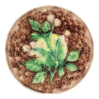 Antique Majolica Basket Weave Plate With Lemon