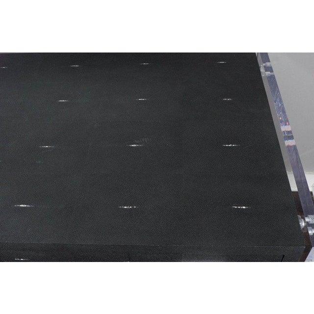Venfield Sleek Black Shagreen Desk with Lucite Side Panels For Sale - Image 4 of 7