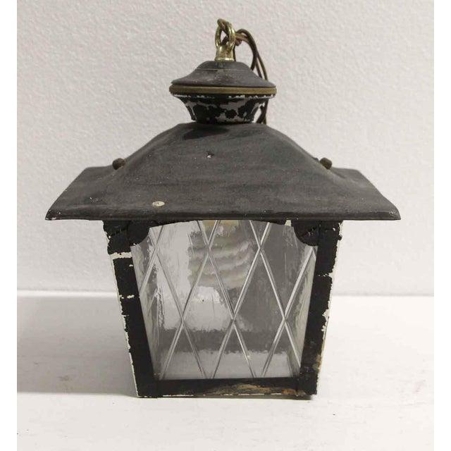 Arts & Crafts Black Metal & Glass Exterior Ceiling Lantern For Sale - Image 4 of 9