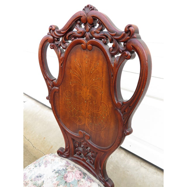 Late 19th Century Antique French Carved Mahogany Art Nouveau Side Chair For Sale In Seattle - Image 6 of 13