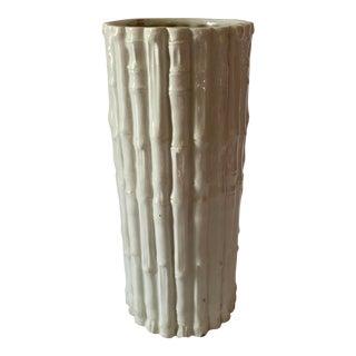 Vintage White Italian Pottery Bamboo Vase For Sale