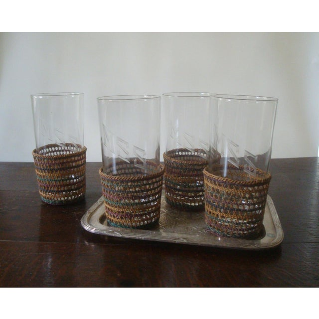 Mid 20th Century Vintage Wicker Glass Cozies Coasters, Set of 12 For Sale - Image 5 of 7